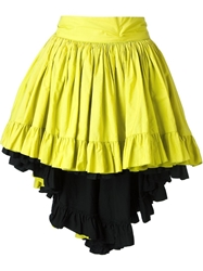 Yves Saint Laurent Vintage Pleated Drop Hem Skirt Green