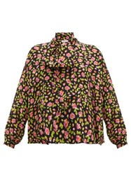 Balenciaga Rose Print Tie Neck Silk Blouse Black Multi