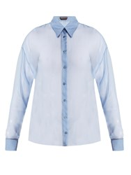 Rochas Point Collar Silk Chiffon Shirt Blue