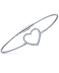 Charriol Women's Laetitia White Topaz Heart Stainless Steel Bendable Cable Bangle Bracelet Silver