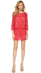 David Lerner 3 4 Sleeve Lace Dress Poppy