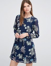 Yumi Long Sleeve Shift Dress In Butterfly Print Navy