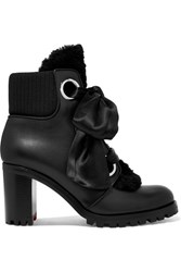 Christian Louboutin Jenny From The Alps Shearling And Leather Ankle Boots Black