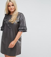 Elvi Faux Leather T Shirt Dress With Ruffle Detail Black