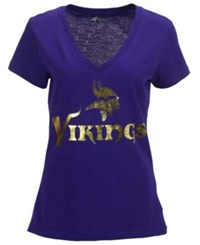 G3 Sports Women's Minnesota Vikings Foil Wordmark V Neck T Shirt Purple