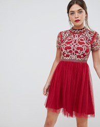 Frock And Frill 3 4 Sleeve Pleated Skater Dress With Embellished Upper Detail Persian Red