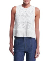 Derek Lam 10 Crosby Sleeveless Lace Fringe Trim Crop Top Soft White