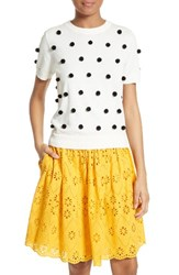 Kate Spade Women's New York Pom Embellished Cotton And Cashmere Sweater Cream Black