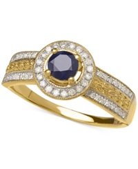 Macy's Sapphire 3 8 Ct. T.W. And Diamond 1 5 Ct. T.W. Round Ring In 14K Gold
