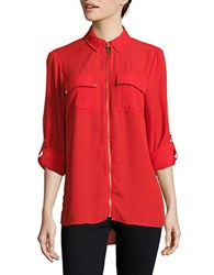 Michael Michael Kors Exposed Zipper Chiffon Hi Lo Blouse Red