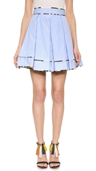 Msgm Striped Full Skirt Blue White Stripe