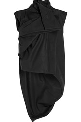 Rick Owens Draped Cotton Canvas Vest Black
