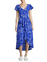 Tracy Reese Cascade Printed Hi Lo Dress Blue Floral