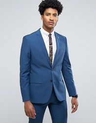 Farah Skinny Suit Jacket In Blue Blue