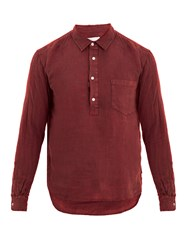 Solid And Striped Popover Half Button Linen Shirt Burgundy