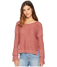 Roxy Ruffle Party Sweater Withered Rose Pink
