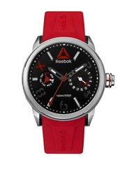 Reebok Flashline Stainless Steel And Silicone Analog Watch Red