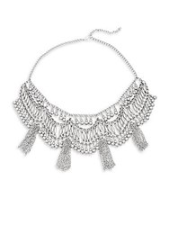 Saks Fifth Avenue Beads And Chainlink Tassel Statement Necklace Silver