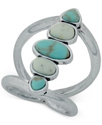 Lucky Brand Silver Tone Blue Stone Statement Ring