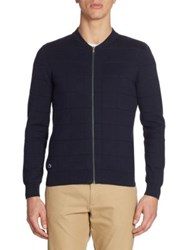 Lacoste Windowpane Jacquard Full Zip Sweater Midnight