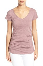 Women's Caslon Shirred V Neck Tee Purple Shake