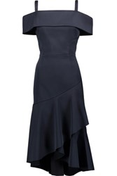 Rebecca Vallance Cutout Ruffle Trimmed Hammered Satin Midi Dress Midnight Blue