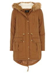 Dorothy Perkins Faux Fur Hooded Parka Brown