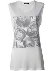 Blk Dnm Rose Print T Shirt White