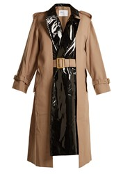 Toga Pleat Front Contrast Panel Belted Trench Coat Beige