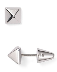 Eddie Borgo Pyramid Stud Earrings Silver