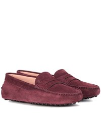 Tod's Gommini Suede Loafers Purple