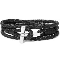 Tom Ford Woven Leather And Palladium Plated Wrap Bracelet Black