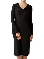 Pure Collection Flare Sleeve Jersey Dress Black