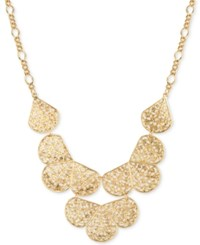 2028 Gold Tone Filigree Fan Bib Necklace