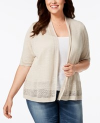 Charter Club Plus Size Open Front Pointelle Cardigan Sand