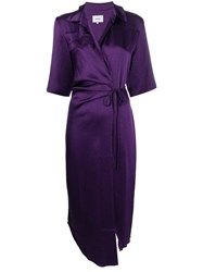 Nanushka Lais Satin Draped Shirt Dress Purple