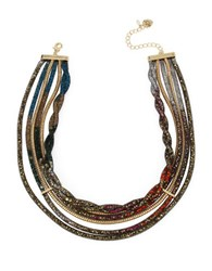 Betsey Johnson Confetti Goldtone Mixed Multi Colored Stone Filled Mesh Multi Row Necklace