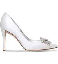 Gina Colorado Silk Satin Court Shoes White