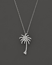 Bloomingdale's Diamond Palm Tree Pendant Necklace In 14K White Gold .25 Ct. T.W.