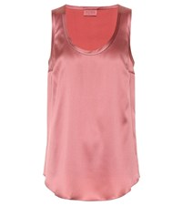 Brunello Cucinelli Stretch Silk Satin Top Pink