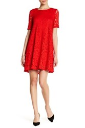 Sharagano Short Sleeve Lace Dress Petite Red