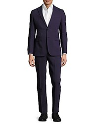 Giorgio Armani Solid Wool Buttoned Suit Notte