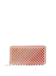 Christian Louboutin Panettone Embellished Zip Around Leather Wallet Pink Multi