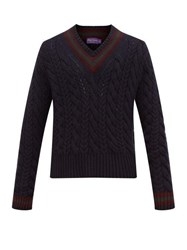Ralph Lauren Purple Label Cable Knitted Cashmere Cricket Sweater Navy