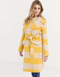 Miss Selfridge Longline Tailored Coat With Tie Waist In Yellow Check Multi