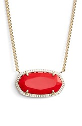 Women's Kendra Scott 'Dylan' Stone Pendant Necklace Red Gold
