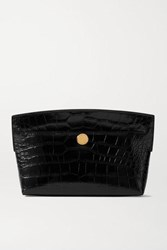 Burberry Glossed Croc Effect Leather Clutch Black