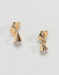 Glamorous Gold Metal Twist Earrings