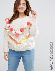 Asos Curve Jumper With Pom And Sequins Multi