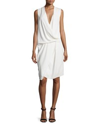 Camilla And Marc Sleeveless V Neck Draped Asymmetric Cocktail Dress Women's Creme